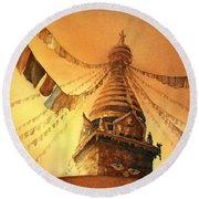 Buddhist Stupa- Nepal Round Beach Towel by Ryan Fox