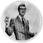 Buddy Holly Vintage Pop Star Round Beach Towel