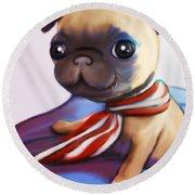 Buddy The Pug Round Beach Towel