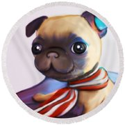 Buddy The Pug Round Beach Towel