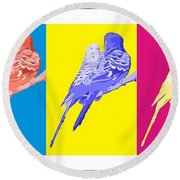 Pop Art Parakeets Round Beach Towel