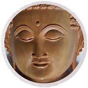 Round Beach Towel featuring the sculpture Budha by Suhas Tavkar