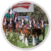 Budweiser Clydesdales Perfection Round Beach Towel