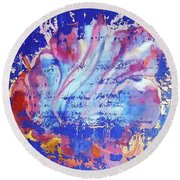 Round Beach Towel featuring the painting Bue Gift by Eva Konya