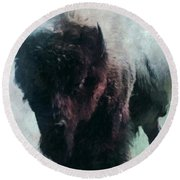 Buffalo American Bison Round Beach Towel