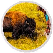 Buffalo And Navajo Round Beach Towel