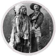 Buffalo Bill Cody And Chief Sitting Bull C. 1890 Round Beach Towel
