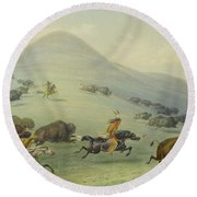 Buffalo Chase Round Beach Towel
