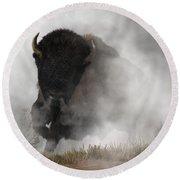 Buffalo Emerging From The Fog Round Beach Towel by Daniel Eskridge