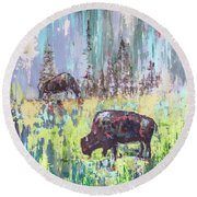 Round Beach Towel featuring the painting Buffalo Grazing by Cheryl McClure