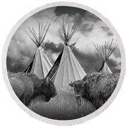 Buffalo Herd Among Teepees Of The Blackfoot Tribe Round Beach Towel
