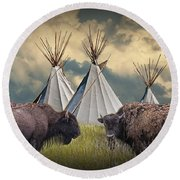 Buffalo Herd On The Reservation Round Beach Towel