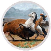 Buffalo Hunt Round Beach Towel