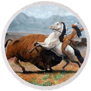 Round Beach Towel featuring the painting Buffalo Hunt by Tom Roderick