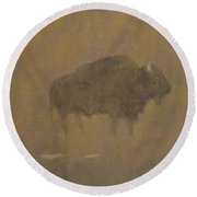 Buffalo In A Sandstorm Round Beach Towel by Albert Bierstadt