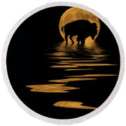 Buffalo In The Moonlight Round Beach Towel