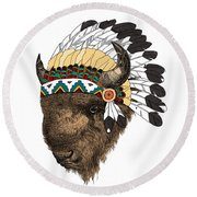 Buffalo With Indian Headdress In Color Round Beach Towel