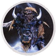 Buffalo Medicine Round Beach Towel