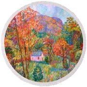 Round Beach Towel featuring the painting Buffalo Mountain In Fall by Kendall Kessler