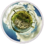 Round Beach Towel featuring the photograph Buffalo Outer Harbor Sunrise - Tiny Planet by Chris Bordeleau