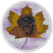 Buffalo Profile Round Beach Towel by Ralph Root