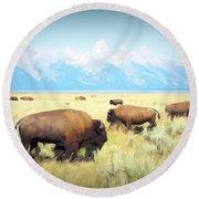 Buffalo Roam, Smokey Grand Tetons, Wyoming Round Beach Towel