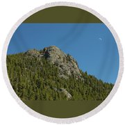 Round Beach Towel featuring the photograph Buffalo Rock With Waxing Crescent Moon by James BO Insogna