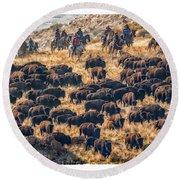 Buffalo Roundup Round Beach Towel by Kristal Kraft