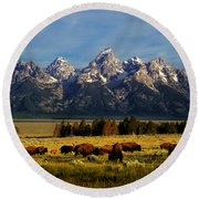 Buffalo Under Tetons Round Beach Towel