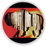 Round Beach Towel featuring the photograph  Wooden Buffalo 3 by Larry Campbell