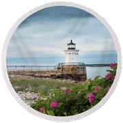 Bug Light Blooms Round Beach Towel