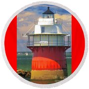 Bug Light Plymouth Round Beach Towel by Amazing Jules