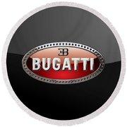 Bugatti - 3d Badge On Black Round Beach Towel by Serge Averbukh