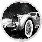 Bugatti Type 57 Aerolithe Round Beach Towel