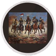 Bugler And The Guidon Round Beach Towel