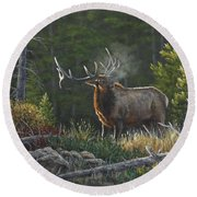 Round Beach Towel featuring the painting Bugling Bull by Kim Lockman