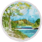 Bugny Trees At Kanumera Bay, Ile Des Pins Round Beach Towel