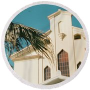 Building Behind Palm Tree In Ostia, Rome Round Beach Towel