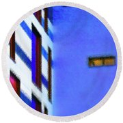 Round Beach Towel featuring the digital art Building Block - Blue by Wendy Wilton