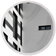 Round Beach Towel featuring the photograph Building Block - Black And White by Wendy Wilton