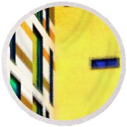 Round Beach Towel featuring the digital art Building Block - Yellow by Wendy Wilton