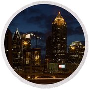 Round Beach Towel featuring the photograph Building Boom Midtown Atlanta Construction Art by Reid Callaway