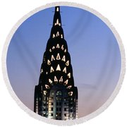 Building Lit Up At Twilight, Chrysler Round Beach Towel by Panoramic Images