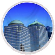 Buildings 2,3,4 In New York's Financial District Round Beach Towel