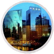 Reflections On The Canal Round Beach Towel