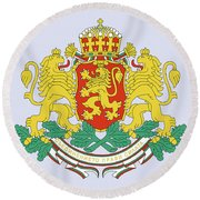 Round Beach Towel featuring the drawing Bulgaria Coat Of Arms by Movie Poster Prints