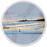 Bull Beach Round Beach Towel by Marilyn McNish