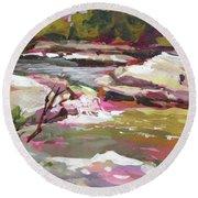 Bull Creek 1 Round Beach Towel by Rae Andrews