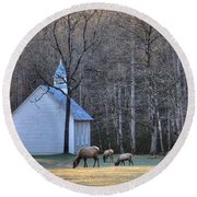 Bull Elk Attending Palmer Chapel  In The Great Smoky Mountains National Park Round Beach Towel