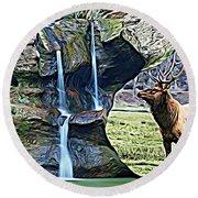 Bull Elk By A Waterfall Round Beach Towel